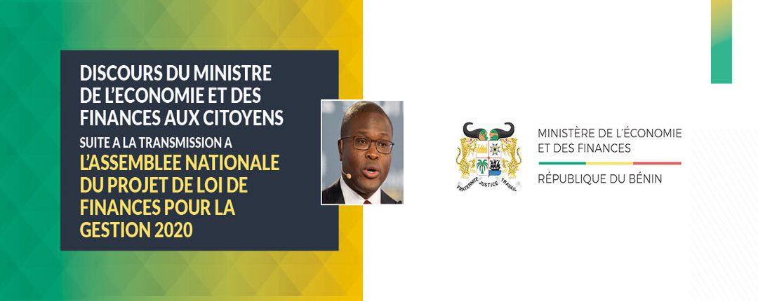Discours du Ministre de l'Economie et des Finances aux citoyens suite à la transmission à l'Assemblée Nationale du Projet de Loi de Finances pour la gestion 2020