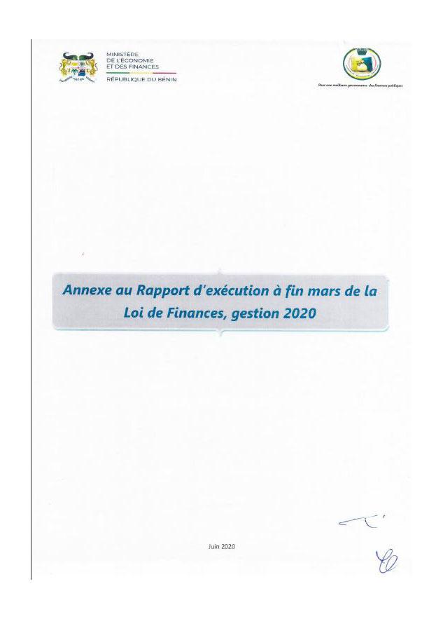 Annexe au Rapport d'exécution à fin mars de la loi de finances, gestion 2020