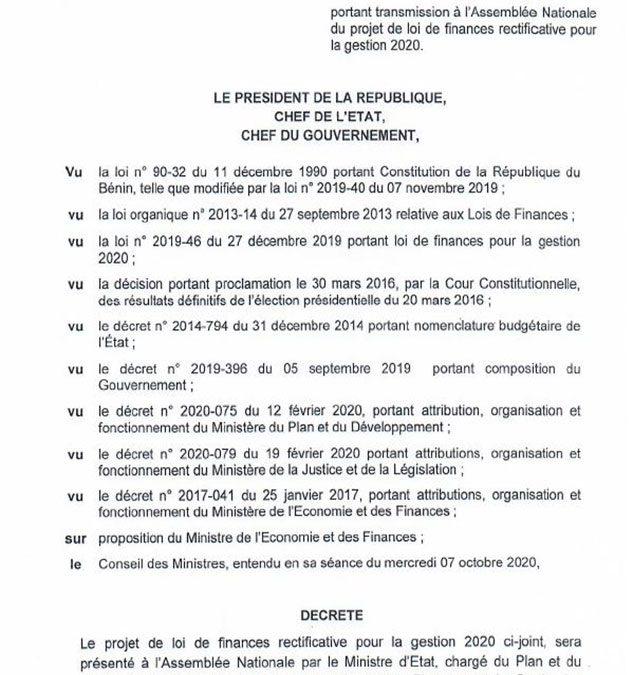 Décret portant transmission à l'Assemblée Nationale du projet de loi de finances rectificative, gestion 2020