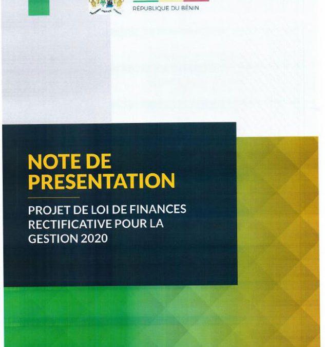 Note de présentation du projet de loi de finances rectificative, gestion 2020