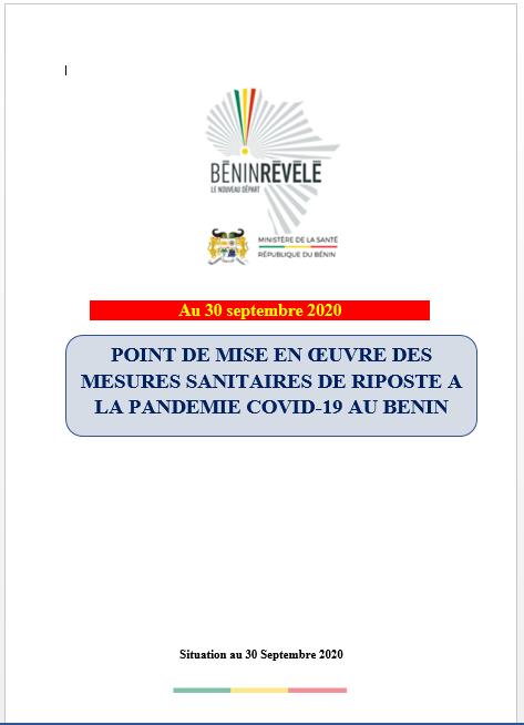 Point de mise en œuvre des mesures  sanitaires de riposte à la pandémie COVID-19 au Bénin