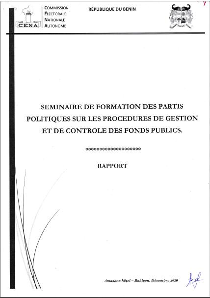Séminaire de formation des partis politiques sur les procédures de gestion et de contrôle des fonds publics