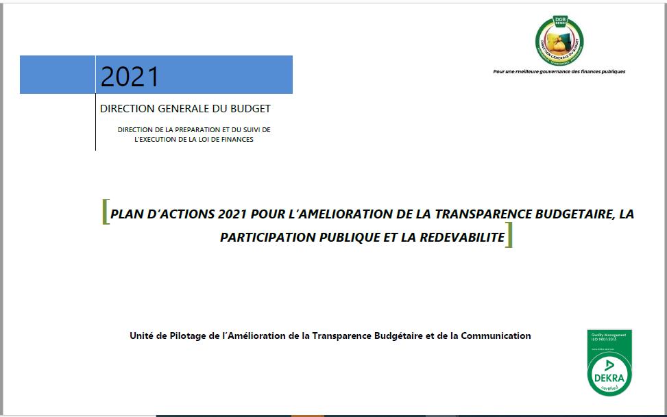 Plan d'actions 2021 pour l'amélioration de la transparence budgétaire, la participation publique et la redevabilité