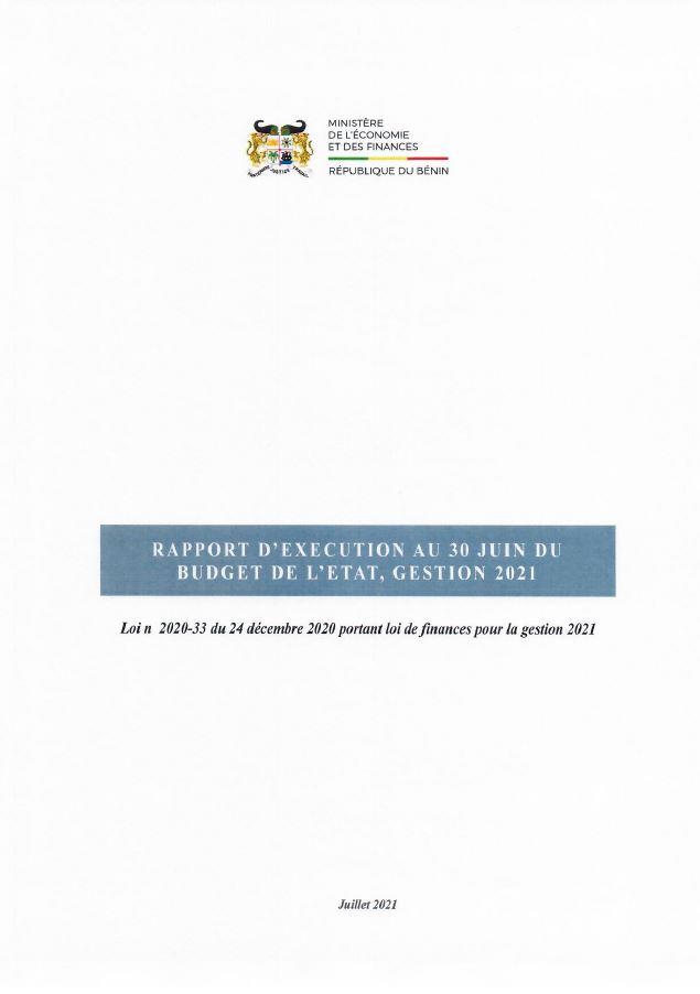 Rapport d'exécution de la loi de finances 2021, au 30 Juin 2021